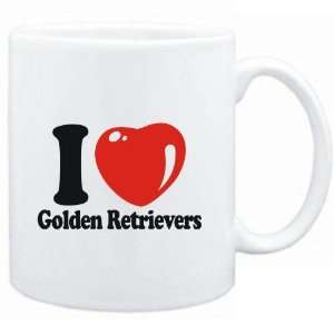 Mug White  I LOVE Golden Retrievers  Dogs