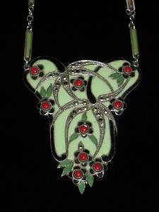 Antique Art Deco Marcasite & Enamel Silver Lavalier Necklace