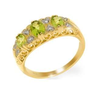 9ct Yellow Gold Peridot & Diamond Ring Size 6.5 Jewelry