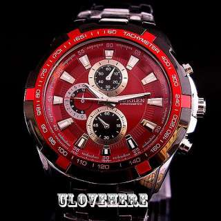 red dial ANALOG SPORT QUARTZ men Stainless Steel wrist watch c23r