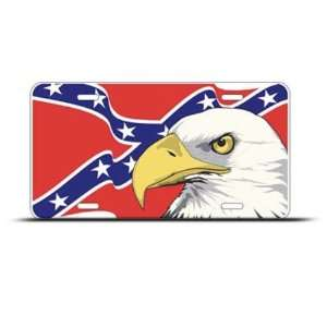 Rebel Flag American Eagle Metal License Plate Wall Sign
