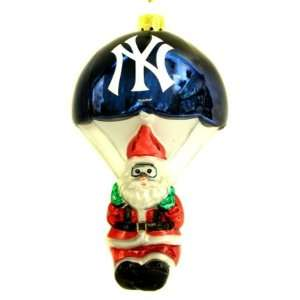 New York Yankees MLB Parachuting Santa Glass Ornament