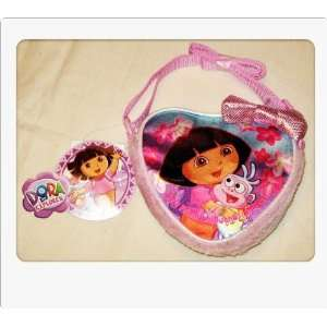 Dora the Explorer Satin Glitter Plush Heart Girls Purse