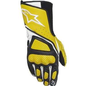 Mens Leather Street Bike Racing Motorcycle Gloves   Yellow / Small