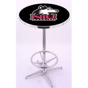 Northern Illinois University Chrome Pub Table With Foot