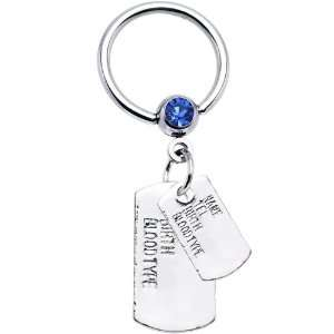 Blue Gem ID Dog Tag Dangle Captive Ring Jewelry