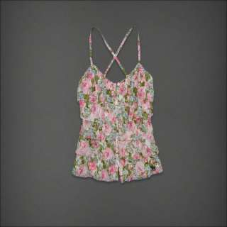 NWT Abercrombie & Fitch Women Mary Cami Tank Top Shirt Pink Floral