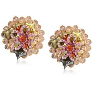 Betsey Johnson Iconic Ombre Rose Flower and Bead Cluster Clip On