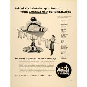 1939 Ad York Refrigeration Air Conditioning Ice Sundae
