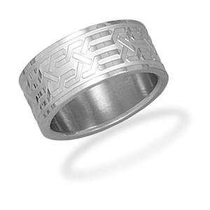 Mens Unique Design Stainless Steel Band Ring, 9 Jewelry