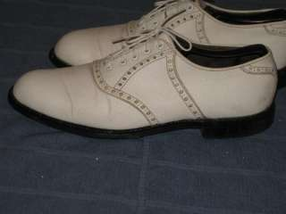 VINTAGE METAL SPIKE MENS WHITE LEATHER SADDLE OXFORD GOLF SHOES 9 D