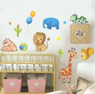 LARGE JUNGLE ANIMALS Nursery Removable Wall Stickers