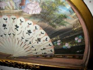 Antique 1800s Hand Painted French Fan with Gilded Frame (Display Box