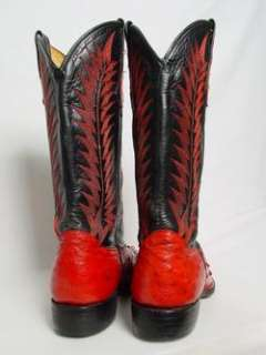 Mens Vintage Red FULL QUILL OSTRICH Leather Needle Toe Western Cowboy