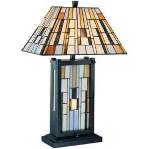 Lite Source LS 21237 Grande 3 Light Table Lamp, Dark Bronze/Tiffany