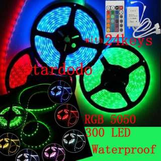 LED 5050 Waterproof RGB SMD Flexible Lamp Strip Light +24 Key IR Remot