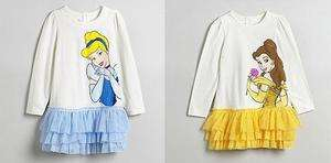 DISNEY PRINCESS GIRLS LONG SLEEVE TUTU SKIRT DRESS CINDERELLA OR BELLE