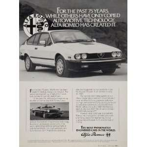 Alfa Romeo Sports Car Technology Original Print Ad   Original Print Ad
