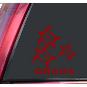 Hawaiian Sea Turtle Family With 1 Baby Vinyl Decal Sticker   Dark Red