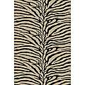 Alexa Omega Collection Zebra Animal Black Rug (53 x 76)