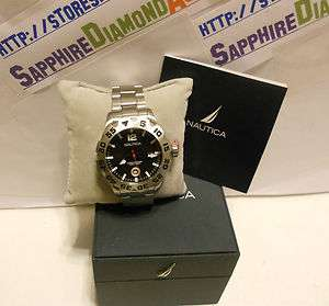 Nautica Black Dial Mens Stainless Steel watch N17549G NEW Inter