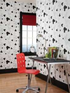 DiSnEy MICKEY MOUSE Heads White Black Wallpaper Decor