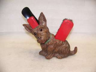 Scottish Terrier Dog VINTAGE SHOE BRUSH HOLDER & BRUSHES