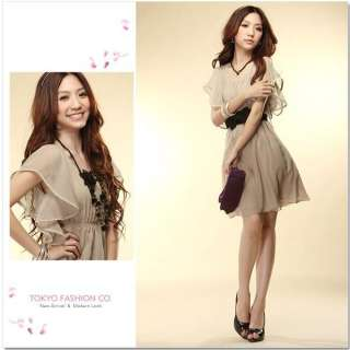 Korea Women chiffon Ruffle Cocktail Mini dress + Belt