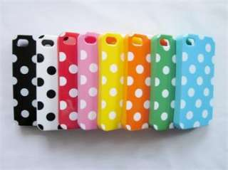 Green White Soft TPU Plastic Polka Dots Case Cover Skin for iPhone 4