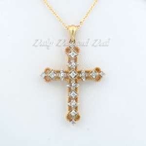 14K Yellow Gold 1/2 CT Diamond Cross Pendant Necklace