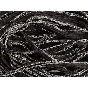 3 Foot Hand Dyed Silk Jet Black w/ Metallic Silver Edges