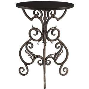 Wrought Iron Accent Side Table   27.25hx20.25d, Black