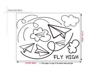 PAPER AIRPLANES Vinyl Art Wall Decor Decal Sticker Kids
