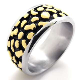 Mens Gold Silver Stainless Steel Ring US Size 8,9,10,11,12,13