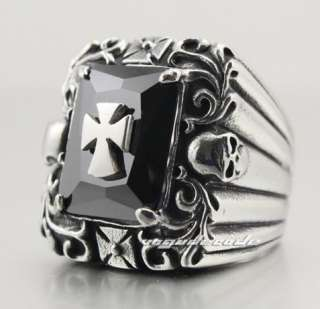 316L Stainless Steel Cool Cross and Skull CZ Men`s Ring 4B033