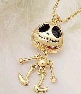 New Fashion Jewelry Womens Black+Silver Cute Skull Pendant Necklace