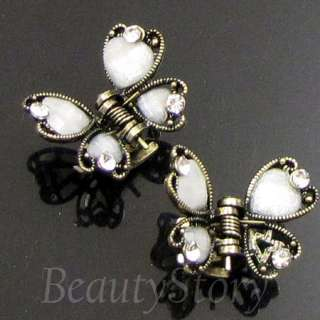 SHIPPING 2 antiqued rhinestone crystal butterfly hair claw clip