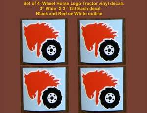 Set of 4 Wheel Horse Logos Garden tractor vinyl decals 3 x 3 Each