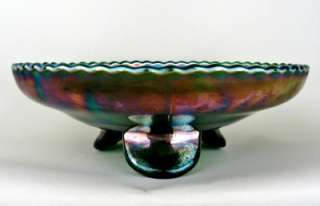 & HOLLY by FENTON ~ GREEN CARNIVAL GLASS ICE CREAM SHAPE FOOTED BOWL