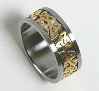 Mens Women 316L Stainless Steel Gold Celtic Rings Bands