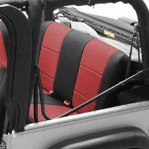Seat Covers Rear Neoprene BLACK/RED For 2003 06 Jeep Wrangler TJ