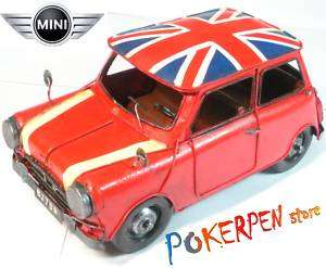 mini cooper antique tin car old style ornament RED