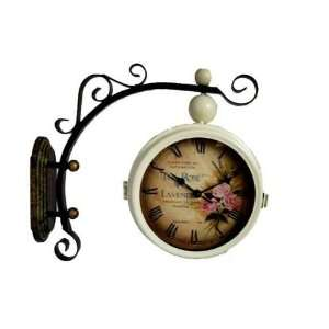 Wrought iron double sided clock, wrought iron wall clock