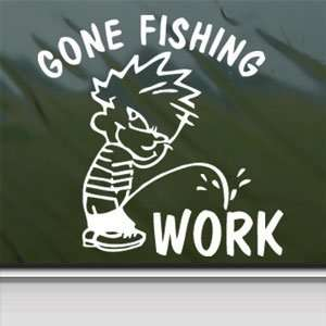 Funny Gone Fishing White Sticker Car Vinyl Window Laptop