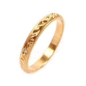 18k Yellow Gold Diamond Hand Engraved Ring Size 6 Ct.tw 0