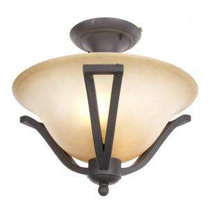 Commercial Electric Rustic Iron 2 Light Semi Flushmount ESS8212 at The