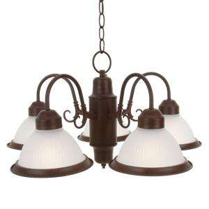 Commercial Electric Halophane Nutmeg 5 Light Chandelier WB0390 at The