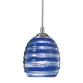 Hampton Bay 1 Light Hanging Blue/Clear Mini Pendant HD265710 at The