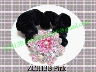 Mix Color Ponytail Holders human hair Headdress Pink Black Blue Orange