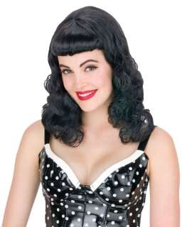 Black Pin Up Page Wig   Betty Page Costume Wigs   15fw92517bk